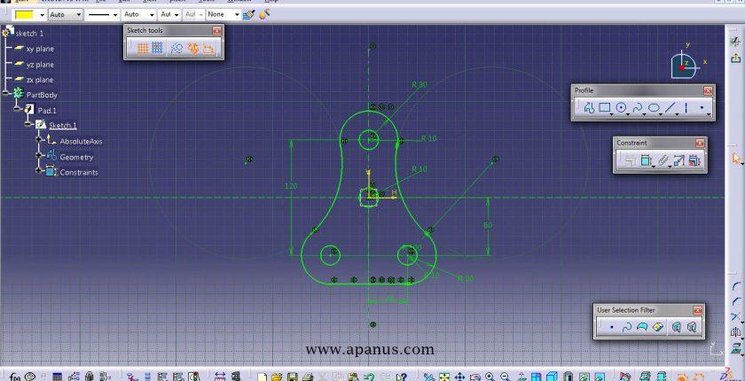 محیط طراحی دو بعدی sketcher در کتیا