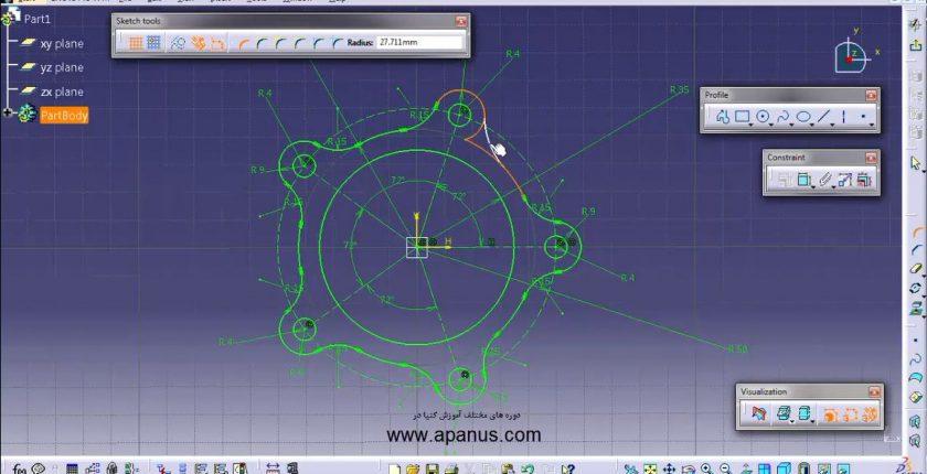آموزش محیط طراحی دو بعدی sketcher در کتیا