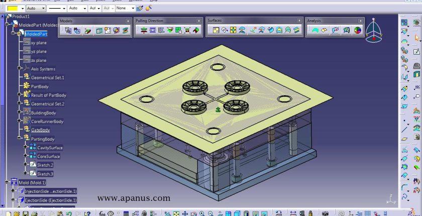 دوره طراحی قالب با کتیا Core and cavity design