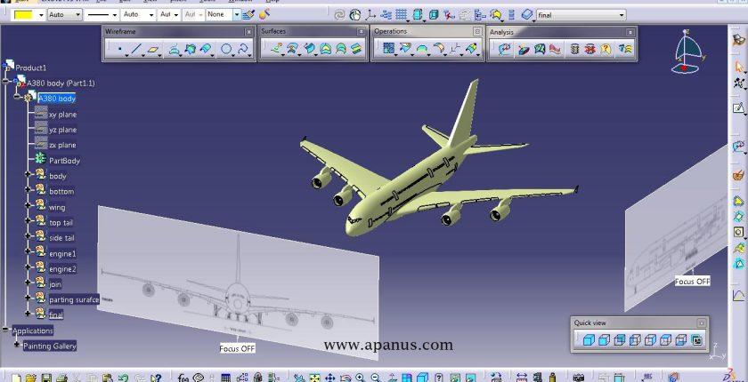 طراحی بدنه با بلوپرینت در کتیا - محیط Sketch tracer