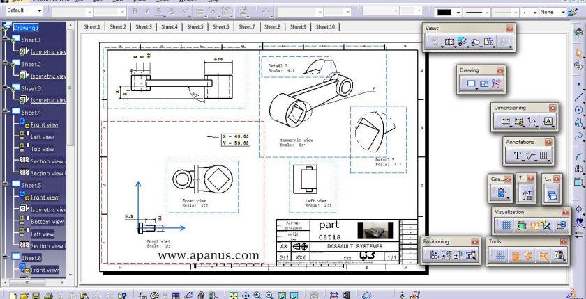 آموزش محیط نقشه کشی Drafting در کتیا
