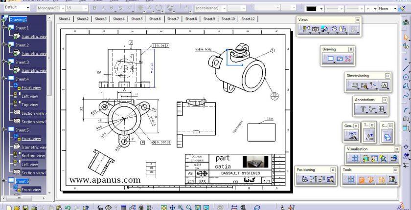 محیط نقشه کشی Drafting در کتیا