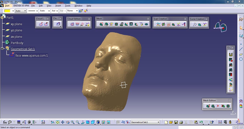 فایل اسکن شده سه بعدی صورت انسان توسط دستگاه اسکنر سه بعدی