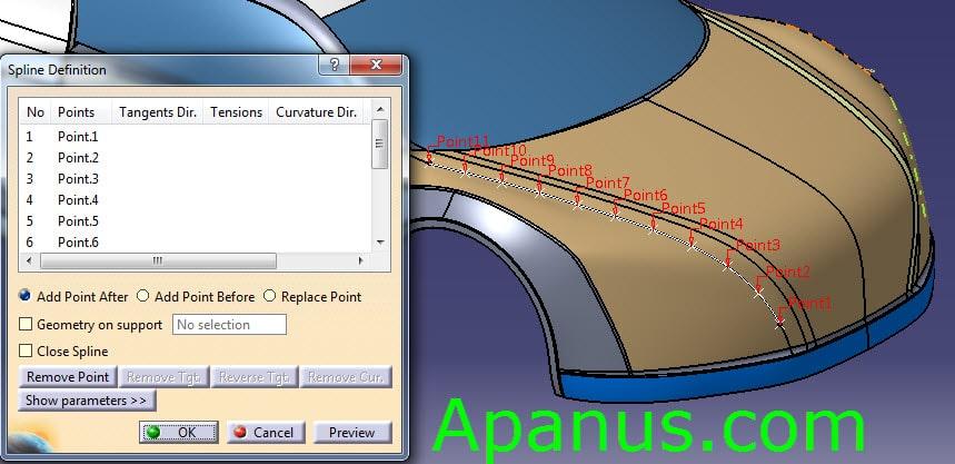 ابزار منحنی سه بعدی Spline در محیط Generative Shape Design