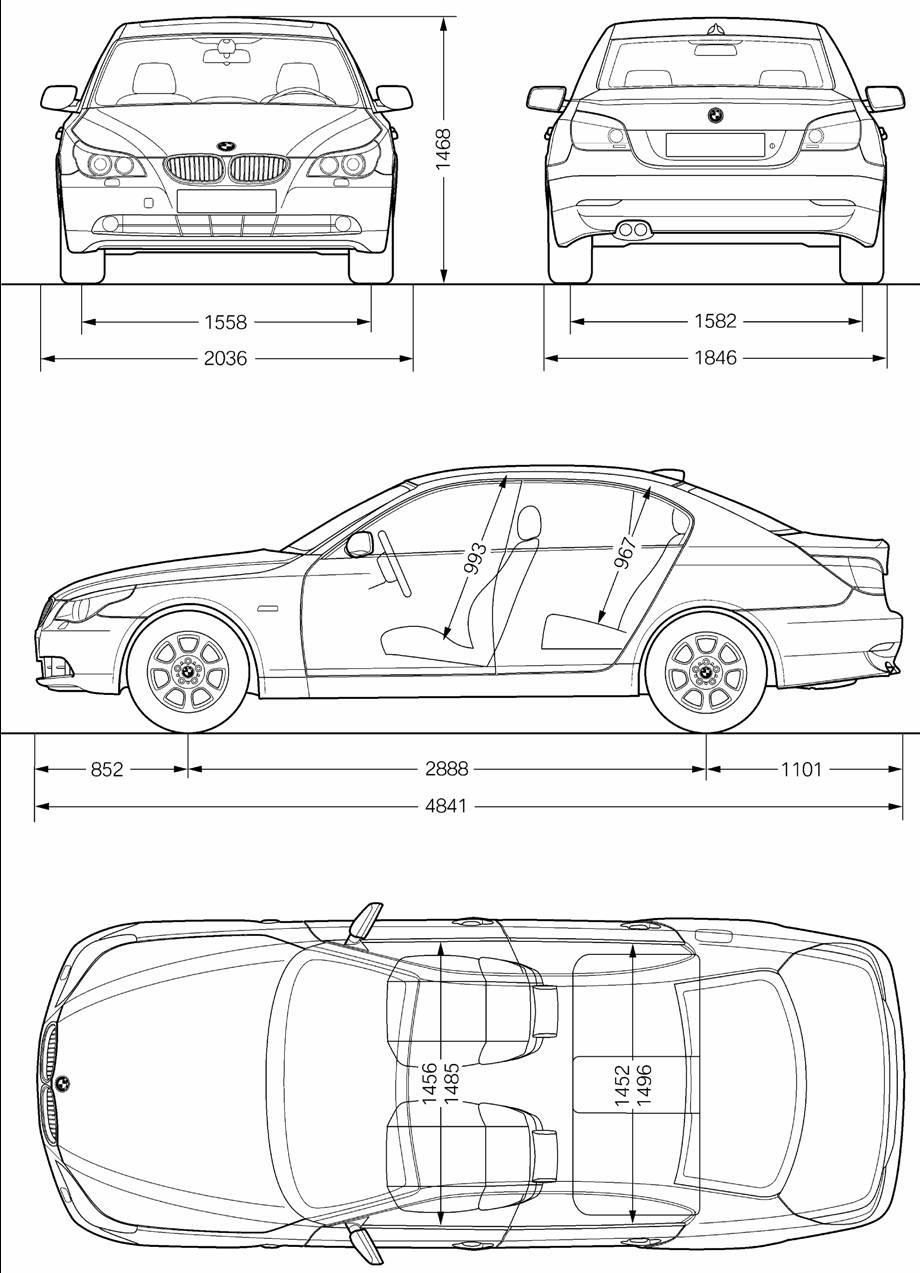 بلوپرینت blueprint خودروی BMW Series 5