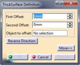 پنجره ابزار Thick Surface