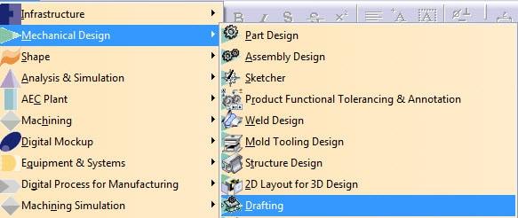 محیط Drafting نرم افزار Catia