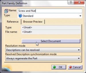 ابزار Add Part Family در محیط Catalog کتیا