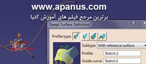 دستور Sweep حالت Reference Surface در کتیا