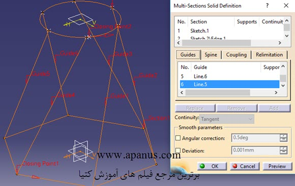 نقاط Closing Point در Multi section solid