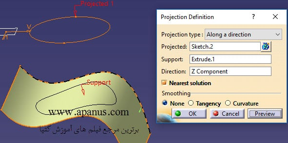 ابزار Projection تصویر در کتیا
