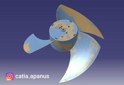 مهندسی معکوس پروانه فن 750 میلی متر با کتیا