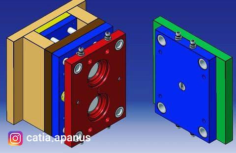 طراحی قالب پلاستیک درپوش روغن با کتیا